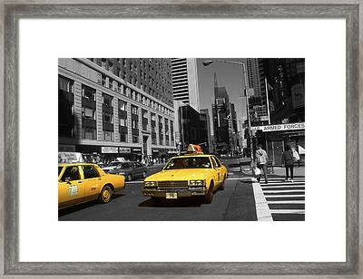 New York Broadway - Yellow Taxi Cabs Framed Print