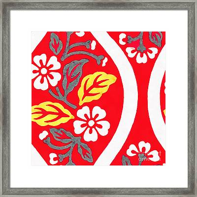 Brocade Pattern With Cherry Blossoms And Wave Designs On Red  Framed Print by Edward Fielding