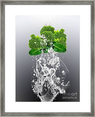 Broccoli Splash Framed Print