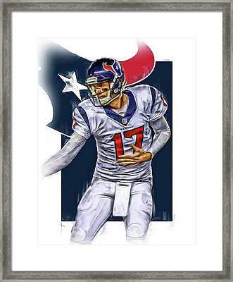 Brock Osweiler Houston Texans Oil Art Framed Print by Joe Hamilton
