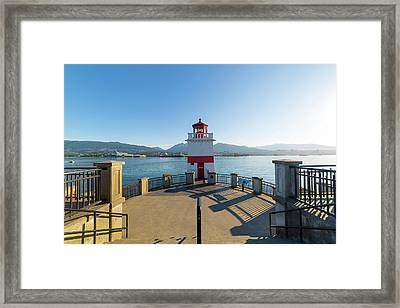Brockton Point Lighthouse At Stanley Park Framed Print by David Gn