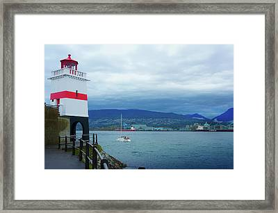 Brockton Point Lighthouse In Stanley Park Framed Print