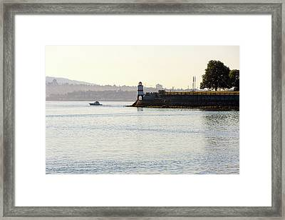 Brockton Point Lighthouse On Peninsula At Stanley Park Framed Print by David Gn
