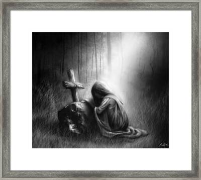 Broken And Contrite Heart Framed Print by Ronald Barba