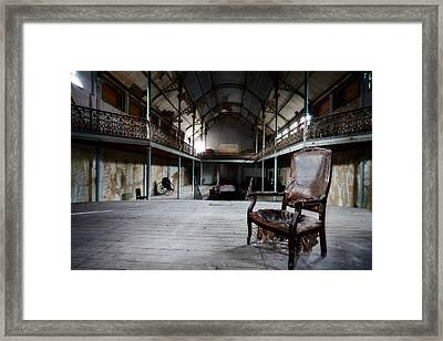 Broken Chair At Deserted Theatre - Abandoned Places Urban Explor Framed Print