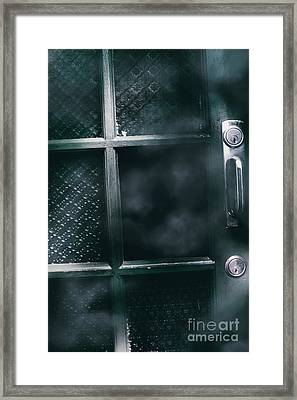 Broken Doors With Hollow Holes Framed Print