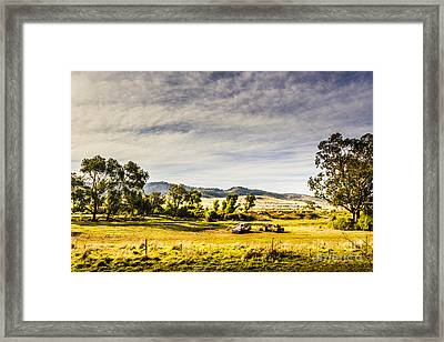 Broken Down Cars On Rural Acreage Framed Print by Jorgo Photography - Wall Art Gallery