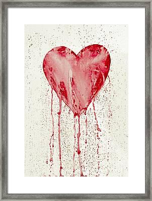 Broken Heart - Bleeding Heart Framed Print by Michal Boubin