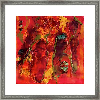 Broken Mask Encaustic Framed Print