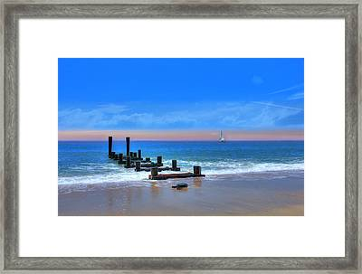 Framed Print featuring the digital art Broken Pier by Sharon Batdorf