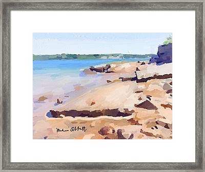 Broken Rock Walkway At Ten Pound Island Beach Framed Print