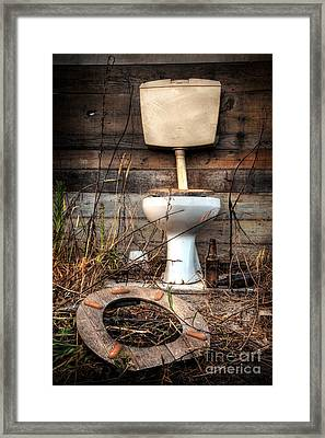 Broken Toilet Framed Print