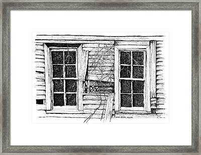 Broken Windows And Vines Framed Print by Dawn Boyer