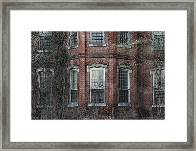 Framed Print featuring the photograph Broken Windows On Abandoned Building by Kim Hojnacki