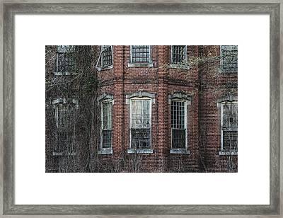 Broken Windows On Abandoned Building Framed Print