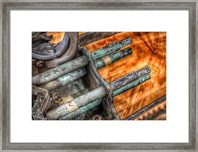 Bromo Seltzer Tower's 1911 Seth Thomas Clock Mechanism Abstract #14 Framed Print by Marianna Mills