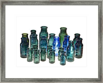 Bromo Seltzer Vintage Glass Bottles Collection Framed Print by Marianna Mills