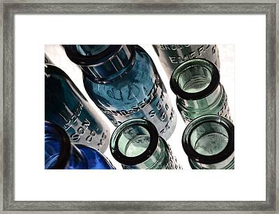 Bromo Seltzer Vintage Glass Bottles - Rare Green And Blue Framed Print by Marianna Mills