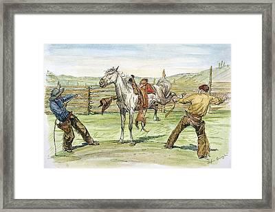 Bronco Busters Framed Print by Granger