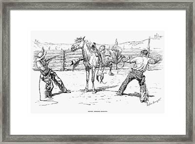 Bronco Busters Saddling Framed Print by Granger