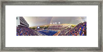 Bronco Stadium Panoramic Framed Print by Lost River Photography