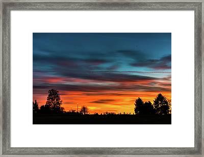 Broncos Sunset In Denver Framed Print