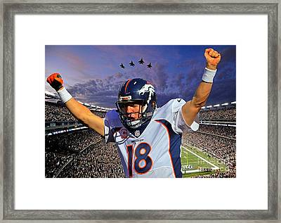 Broncos Win Super Bowl Fifty Framed Print by John Malone