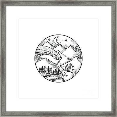 Brontosaurus Astronaut Mountain Circle Tattoo Framed Print by Aloysius Patrimonio