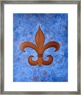 Bronze Fleur De Lis Framed Print