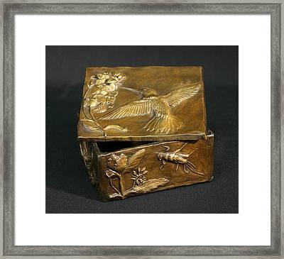 Framed Print featuring the sculpture Bronze Hummingbird Box by Dawn Senior-Trask