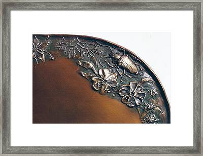 Bronze Tray Detail With Beetle Framed Print by Dawn Senior-Trask