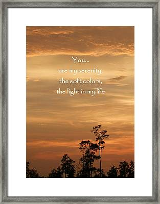 Bronzed Sunset Quote Framed Print