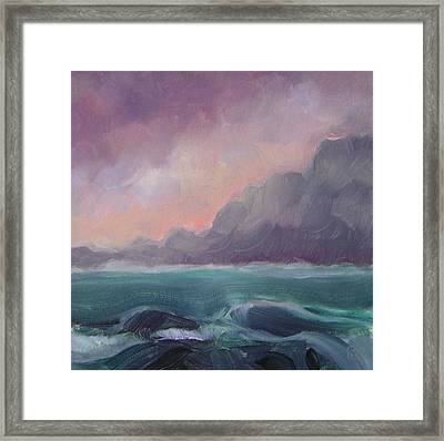 Brooding Tide Framed Print by Mary Brooking