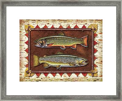 Brook And Brown Trout Lodge Framed Print by JQ Licensing
