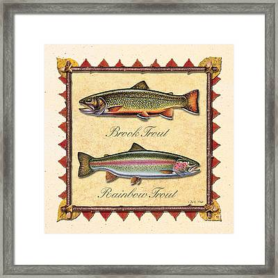 Brook And Rainbow Trout Creme Framed Print by JQ Licensing