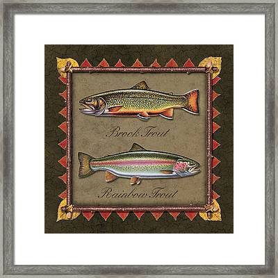 Brook And Rainbow Trout Framed Print by JQ Licensing
