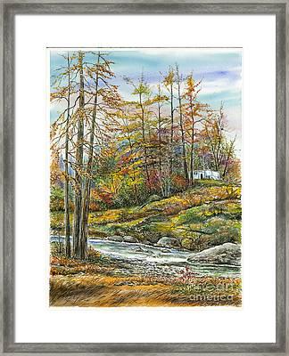 Brook In Autumn Framed Print by Samuel Showman
