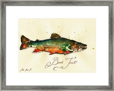 Brook Trout Art Framed Print by Juan  Bosco