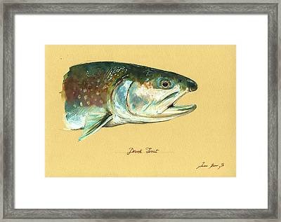 Brook Trout Watercolor Framed Print