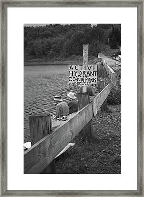 Framed Print featuring the photograph Brookfield, Vt - Floating Bridge 4 Bw by Frank Romeo
