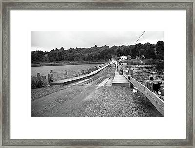 Framed Print featuring the photograph Brookfield, Vt - Floating Bridge 5 Bw by Frank Romeo