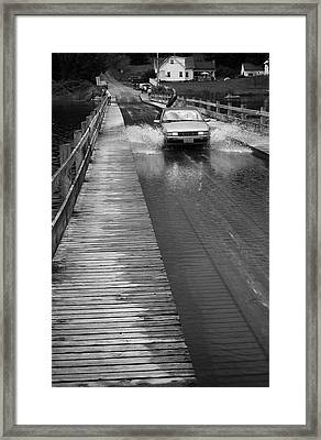 Framed Print featuring the photograph Brookfield, Vt - Floating Bridge Bw by Frank Romeo