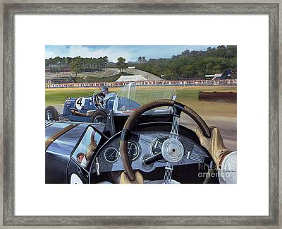 Brooklands From The Hot Seat  Framed Print by Richard Wheatland