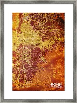 Brooklin New York Vintage Map Framed Print