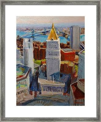 Brooklyn And East River Bridges From Foley Square Framed Print by Peter Salwen