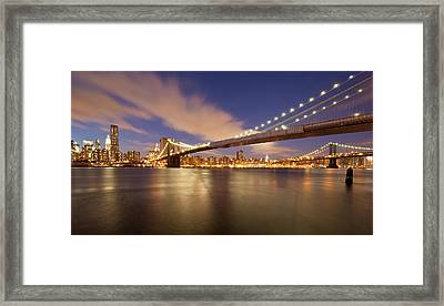 Brooklyn Bridge And Manhattan At Night Framed Print by J. Andruckow