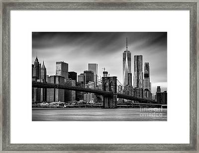Brooklyn Bridge And Trade Centre Framed Print by John Farnan