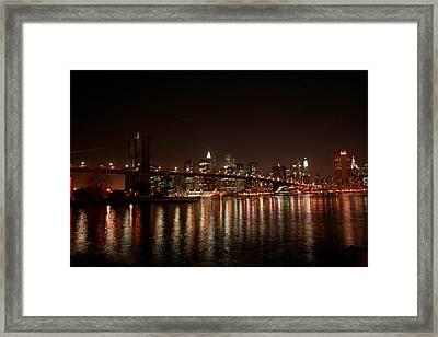 Brooklyn Bridge At Night Framed Print by Jason Hochman