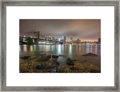 Framed Print featuring the photograph Brooklyn Bridge At Sunrise  by Emmanuel Panagiotakis