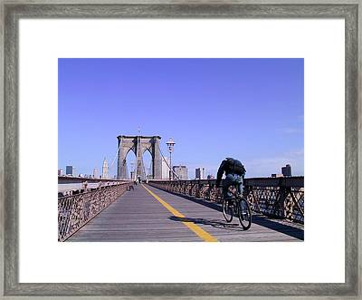 Brooklyn Bridge Bicyclist Framed Print
